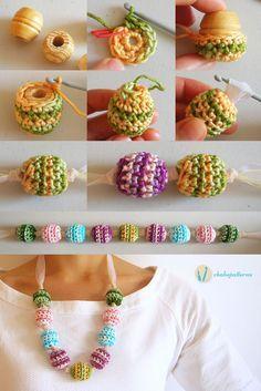 Crochet beads' necklace, free pattern, photo tutorial, written instructions/ Collar de cuentas tejidas, patrón gratis, foto tutorial, instrucciones escritas