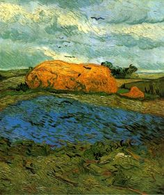 Haystacks under a Rainy Sky Vincent van Gogh - 1890 you couldn't call yourself  a Post-Impressionist without painting a few haystacks.(see Monet) This painting has the ominous flock of crows up against the rainy skies.