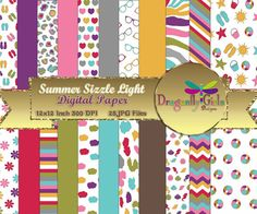 Summer Sizzle Light Version,digital paper,commercial use,scrapbook papers,background,flowers,clouds Seashells, Chevron