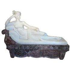 Pauline Borghese Marble Sculpture   1stdibs.com