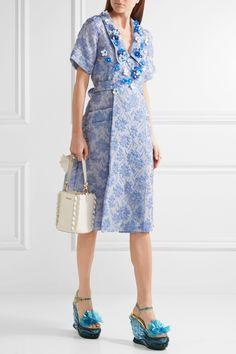Model wearing the Miu Miu Floral-Appliquéd Silk-Blend Cloqué Wrap Dress and  Leather 985a33ecb76
