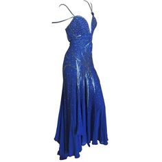 Preowned Atelier Versace Gianni Era Blue Evening Dress With Metal Mesh... ($4,500) ❤ liked on Polyvore featuring dresses, blue, evening dresses, metal dress, vintage cocktail dresses, preowned dresses, low cut cocktail dresses and embellished dress