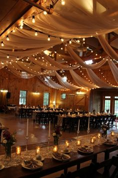 country barn wedding reception ideas with fabric and lighting #wedding #weddingideas #barnwedding