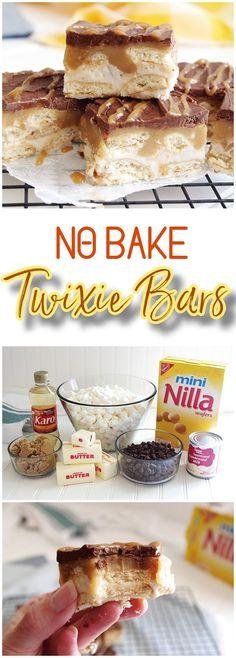 No Bake TWIXIE Cookie Bars – Caramel, Chocolate, Mini Nilla Wafer Cookies – Easy Dessert Treats Recipe