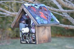 STAINED GLASS Mosaic Birdhouse with a RAINBOW roof by KimberlyMoon