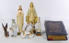 Lot 758: Religious Collectible Assortment; Including ceramic, metal and composition statues and figurines; together with a 1953 Bible
