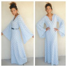 bohemian blue lace bell sleeve maxi dress. vintage inspired angel long sleeves boho. sheer lace. size small medium large. stretch lace on Etsy, $203.74 AUD
