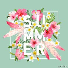 Vecteur : Tropical Flowers and Leaves Background. Summer Design. Vector. T-shirt Design