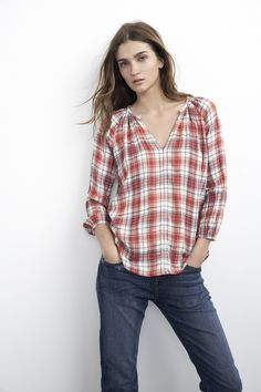 Velvet by Graham & Spencer :: Plaid Popover Top :: Super Soft Shirt :: Fall Street Style :: Fall Trends