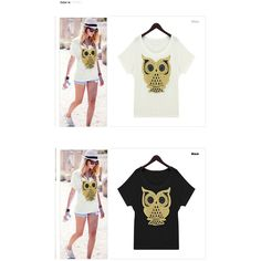 Casual Style Loose-Fitting Owl Pattern Batwing Sleeve Scoop Neck... ($3) via Polyvore featuring tops, t-shirts, white t shirt, scoop-neck tees, loose white t shirt, loose white tee and white scoop neck t shirt