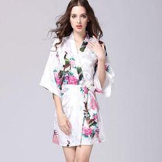 04e8e70b39 SecKill Women s Print Robe Pull Half Sleeve Satin Microfiber Sleep Lounge Robes  Bathrobe Women Robes Women