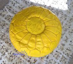 Buy Yellow Moroccan Leather Poufs/Ottomans- Sold UN-STUFFED by mpwplaza. Explore more products on http://mpwplaza.etsy.com
