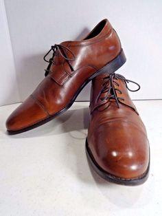 JOHNSTON MURPHY Mens Shoes 11 Mahogany Leather Emmert Captoe Derby Oxford Lace  #JohnstonMurphy #DerbyOxfords