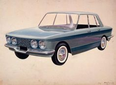 OG   Renault - Project 114   Michel Beligond design sketch   Fregate replacement program. This project was dropped by CEO Pierre Dreyfus only few weeks before the start of production in favour of the Rambler. However this project has been replaced by no.115 which will result in Renault 16.