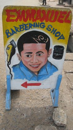 Hand Painted Signs in Ghana: Barbershop Sign, Elmina, Ghana
