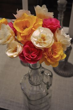 DIY flowers made from streamers -- i have a million of these paper flower tutorials because you never know when floral needs will arise