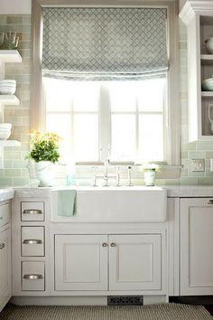 Sea blue cottage kitchen