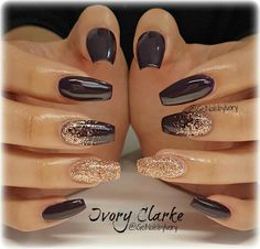 Gorgeous Nails, Pretty Nails, Nice Nails, Uñas Color Cafe, Acrylic Nail Designs, Nail Art Designs, Brown Nail Designs, New Years Nail Designs, Glitter Nail Designs