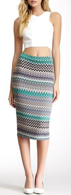 Mini Chevron Print Midi Skirt