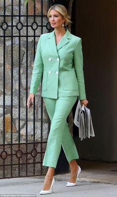 Commute: Ivanka Trump smiled confidently as she left her house for work on Wednesday morning in a pastel green pantsuit and white pointed-toe pumps Ivanka Trump Outfits, Ivanka Trump Style, Suit Fashion, Fashion Outfits, Womens Fashion, Fall Fashion, Cheap Fashion, Fashion Photo, Street Fashion
