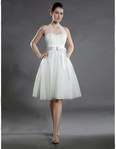 #Summer A-Line Halter Satin Organza Short Beach Wedding Dress - US$ 114.99 / iDreamBuy.com