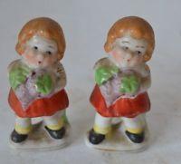 Vintage Occupied Japan Grape Pickers Porcelain Pair Lot Figure Girls