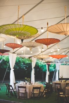 I want an asian inspired fall backyard wedding. the umbrella lit up dance floor and reception tent is adorbs :)