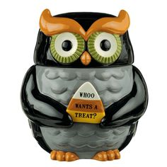 Halloween Owl Cookie Jar by Grasslands Road.  Ceramic with hand painted details.
