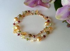 Gemstones bracelet on Etsy, $75.00