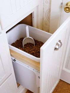 Kitchen Pantry Dog Food Storage - Design photos, ideas and inspiration. Amazing gallery of interior design and decorating ideas of Kitchen Pantry Dog Food Storage in laundry/mudrooms, bathrooms, kitchens, entrances/foyers by elite interior designers. Dog Food Bin, Pet Food, Dog Food Bowls, Food Food, Kitchen Decorating, Decorating Ideas, Decor Ideas, Dog Food Storage, Storage Ideas