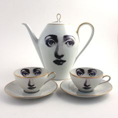 Unique Tea Set Teapot and 2 Cups Altered Woman Porcelain Eye Tea Coffee Saucers Face Vintage White Brown Romantic Whimsical