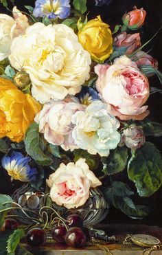 jaded-mandarin:  Cornelis de Heem. Detail from Still-life with a Bouquet of Flowers, Cherries and a Clock, 17th Century.