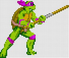 TMNT Donatello - Perler Bead Pattern by Beave @Carla Dearinger look at there whole board