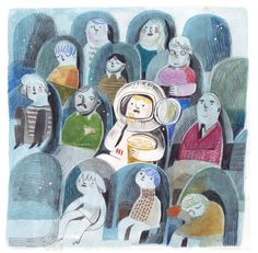 astronaut - felicita sala whimsical watercolour illustration of a spaceman at the cinema