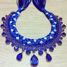 """Braid necklace """"Persian blue"""""""