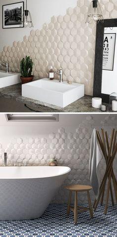 Bathroom Tile Ideas Install Tiles to Add Texture to Your Bathroom // Hexagonal tiles with ., ideen fliesen landhause Bathroom Tile Ideas Install Tiles to Add Texture to Your Bathroom // Hexagonal tiles with . Best Bathroom Tiles, Bathroom Flooring, Bathroom Wall, Bathroom Interior, Bathroom Ideas, Bathtub Tile, Bathroom Grey, Textured Tiles Bathroom, Master Bathroom