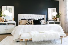Shop this Look: Black and White Bedroom >> http://photos.hgtv.com/rooms/viewer/bedroom/black-and-white/black%2c-white-and-neutral-bedroom-with-lush-furnishings?soc=pinterest