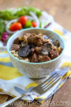 beef tips with onion and mushroom gravy-stove and crock pot