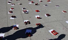 The red shoes: a moving memorial to kidnapped and stolen women at Ciudad Juárez. Photograph:  /Reuters