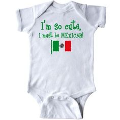 Inktastic So Cute Mexican Infant Creeper Baby Bodysuit Im Mexico Flag Latino Latina Hispanic Pinkinkartkids International French Italian British Canadian Dutch Polish Gift One-piece, Infant Boy's, Size: 18 Months, White