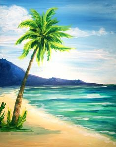 Palm tree at the beach beginner painting idea, paint nite. Summer Painting, Easy Canvas Painting, Fruit Painting, Easy Paintings, Canvas Art, Canvas Ideas, Image Painting, Acrylic Canvas, Canvas Paintings