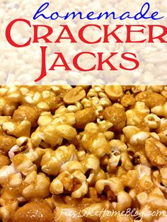 This homemade Cracker Jacks recipe is the ultimate in copycat buttery caramel corn goodness. It's the perfect snack for family movie night or taking Popcorn Snacks, Flavored Popcorn, Popcorn Recipes, Snack Recipes, Cooking Recipes, Popcorn Balls, Cracker Jack Popcorn Recipe, Homemade Popcorn, Candy Recipes