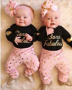 Born Fabulous Outfit, Boutique Outfit, Newborn Outfit, Coming Home Outfit, Baby … – Cute Adorable Baby Outfits Baby Outfits, Twin Girls Outfits, Newborn Outfits, Kids Outfits, Cute Baby Twins, Twin Baby Girls, Baby Born Clothes, Baby Girl Born, Wiedergeborene Babys