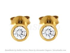 Solid 14k Gold Bezel Set Diamond Stud Earrings-gold diamond earrings-2 & 3mm diamond Studs-yellow gold post-rose gold Studs-white gold Post by ToivaStudioJewelry now at http://ift.tt/2zgL9Kp