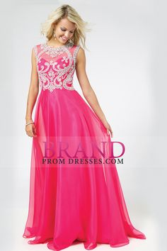 2015 Scoop A-Line Chiffon&Tulle Floor-Length Prom Dresses With Beads Color Fuchsia