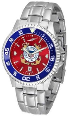 U.S. Coast Guard Competitor AnoChrome Men's Watch with Steel Band and Colored Bezel by SunTime. $91.67. Showcase the hottest design in watches today! A functional rotating bezel is color-coordinated to compliment the Military U.S. Coast Guard logo. A durable, long-lasting combination nylon/leather strap, together with a date calendar, round out this best-selling timepiece.The AnoChrome dial option increases the visual impact of any watch with a stunning radial reflection simil...