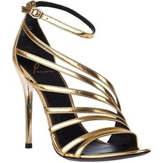 B BRIAN ATWOOD Lesina Evening Sandal Gold Leather (£69) ❤ liked on Polyvore featuring shoes, sandals, heels, sapatos, high heels, gold leather, metallic sandals, gold evening shoes, ankle strap sandals and gold evening sandals