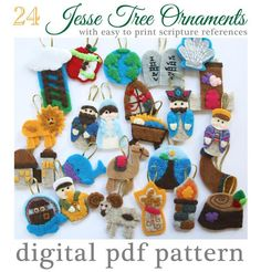Looking for your next project? You're going to love Jesse Tree Advent Felt Ornaments by designer ThelullabylofT.