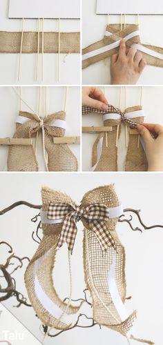 DIY-Ideen - Basteln und Gestalten Antenna loops tinker for wedding - Instructions for car loops - Ta Diy Hair Bows, Diy Bow, Diy Ribbon, Ribbon Crafts, Ribbon Bows, Burlap Crafts, Burlap Bows, Diy And Crafts, Christmas Bows
