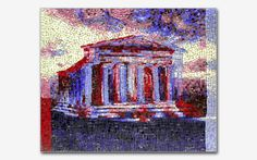 Temple of Apollo 1954  14″ x 17″ 2004 Smalti (Price on request.)  Remember those 3-D images from the 1940s and 50s that you could only see when wearing the cardboard glasses with the red and blue lenses? The second in a series, this piece plays off of that popular retro technique. The mosaic features the Temple of Apollo in Agrigento, Sicily. 3-D glasses included with purchase.